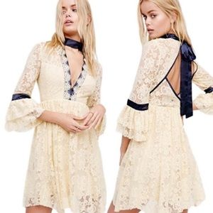 NWOT Free People Cream Lace Bell Sleeve Lace Dress